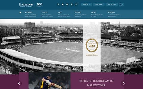 Screenshot of Home Page Menu Page lords.org - The Home of Cricket | Lord's - captured Sept. 23, 2014