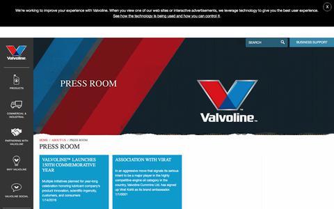 Screenshot of Press Page valvoline.com - Press Room - Valvoline - captured July 7, 2017