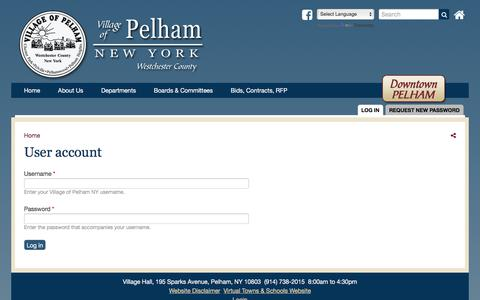 Screenshot of Login Page pelhamgov.com - User account | Village of Pelham NY - captured Oct. 27, 2017
