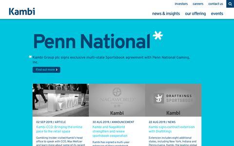 Screenshot of Home Page kambi.com - The Sports Betting Experience Company | Kambi - captured Sept. 4, 2019