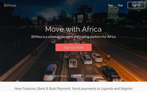 Screenshot of Home Page bitpesa.co - BitPesa - captured Nov. 16, 2015