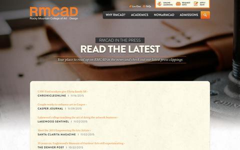 Screenshot of Press Page rmcad.edu - | RMCAD | RMCAD - captured Nov. 18, 2015