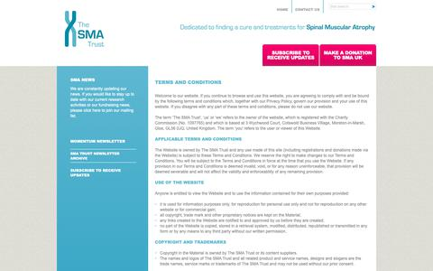 Screenshot of Terms Page smatrust.org - Terms and Conditions - The SMA Trust - captured Oct. 20, 2018
