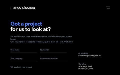 Screenshot of Contact Page mangochutney.com.au - Contact | Mango Chutney - Creative Digital Agency - Adelaide, SA - captured Feb. 23, 2020