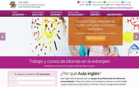 Screenshot of Home Page aulaingles.es - Trabajo y cursos de idiomas en el extranjero - Aulainglés - captured Feb. 6, 2016