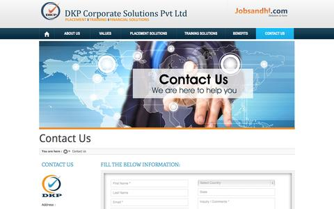 Screenshot of Contact Page dkpcorporate.com - Contact to DKP Corporate Solutions for Training & Placement Service in Pune - captured Sept. 26, 2014