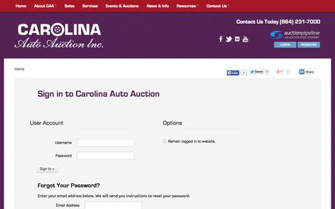 Screenshot of Login Page carolinaautoauction.com - Carolina Auto Auction :: Login - captured Oct. 2, 2014
