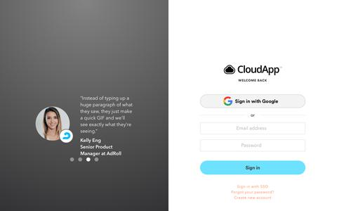Screenshot of Login Page getcloudapp.com - Login | CloudApp is a video and image sharing platform for professionals - captured Jan. 16, 2019