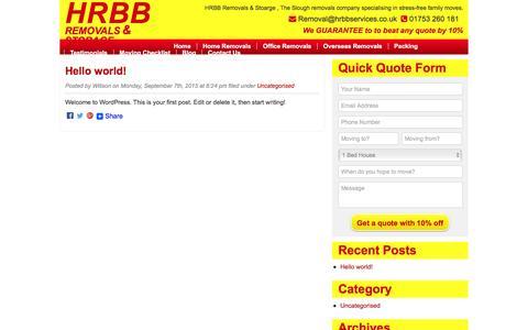 Screenshot of Blog hrbbservices.co.uk - HRBB Removals Company Slough Blog - captured Jan. 23, 2016