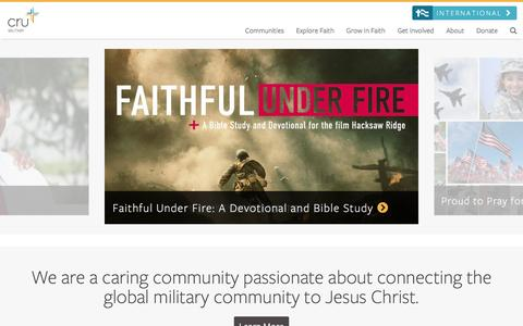 Screenshot of Home Page crumilitary.org - Welcome to Cru Military - Cru Military - captured May 23, 2017