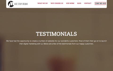 Screenshot of Testimonials Page onestopmedia.com.au - Testimonial - One Stop Media - captured Oct. 7, 2014