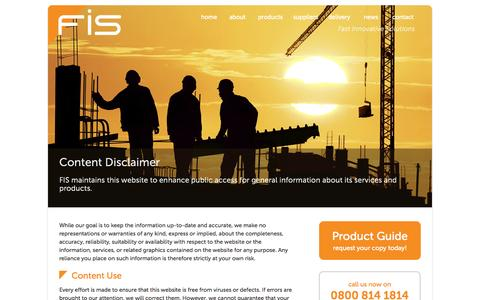 Screenshot of Terms Page fisproducts.co.uk - FIS Construction Products Legal Content Disclaimer, Copyright Trademarks - captured Oct. 6, 2014