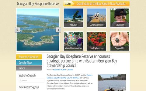 Screenshot of Press Page gbbr.ca - News | Georgian Bay Biosphere Reserve - captured Sept. 28, 2018