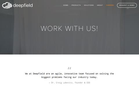 Screenshot of Jobs Page deepfield.com - We are seeking innovative, talented, and collaborative team members in Austin and Ann Arbor — Deepfield.com - captured Dec. 6, 2016