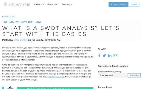 Screenshot of Blog crayon.co - What is a SWOT Analysis? Let's Start with the Basics - captured Nov. 26, 2019