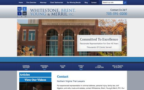 Screenshot of Contact Page wbymlaw.com - Contact | Whitestone, Brent, Young & Merril, P.C. | Fairfax, Virginia - captured Oct. 26, 2014