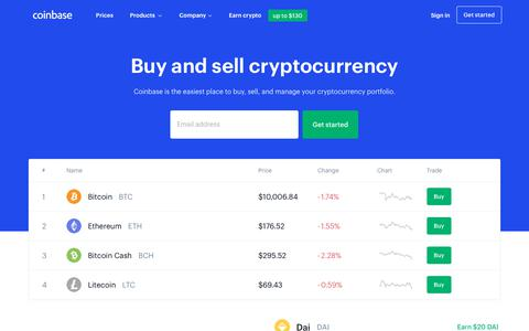Screenshot of Home Page coinbase.com - Coinbase – Buy & Sell Bitcoin, Ethereum, and more with trust - captured Sept. 11, 2019