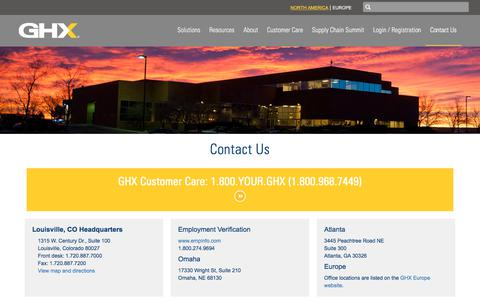 Screenshot of Contact Page ghx.com - Contact Us | GHX - captured Nov. 16, 2017