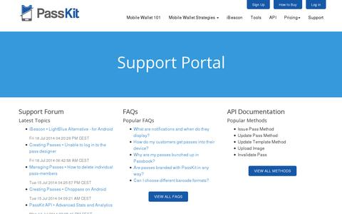 Screenshot of Support Page passkit.com - Support - PassKit - captured July 18, 2014