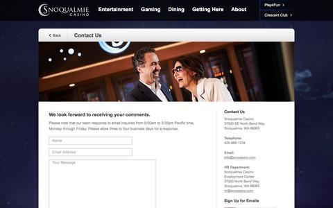 Screenshot of Contact Page snocasino.com - Contact Us | Snoqualmie Casino - captured Dec. 2, 2016