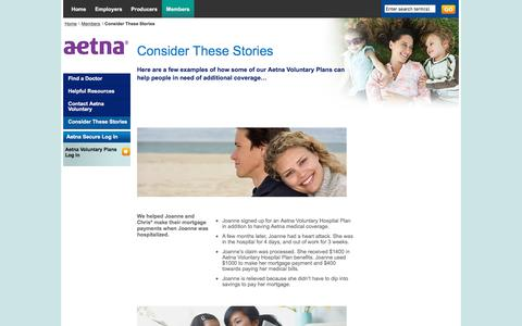 Aetna Voluntary Plans, peace of mind, stories