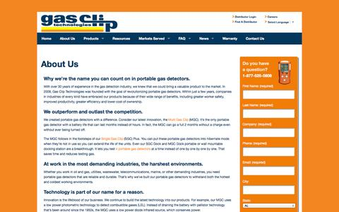 Screenshot of About Page gascliptech.com - Portable Gas Detectors , h2s, o2 Monitors - Gas Clip Technologies - captured Oct. 2, 2014
