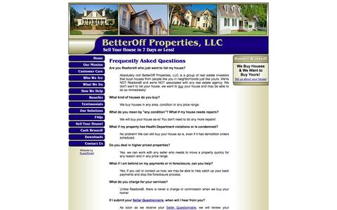 Screenshot of FAQ Page betteroffproperties.com - BetterOff Properties, LLC - Frequently Asked Questions - captured Oct. 5, 2014