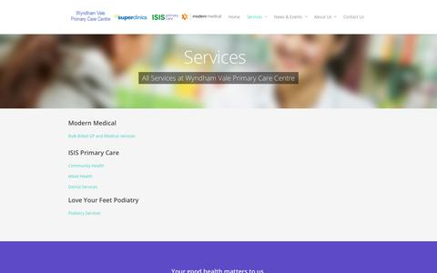 Screenshot of Services Page wvpcc.com.au - Services - Wyndham Vale Primary Care Centre - captured Oct. 7, 2014