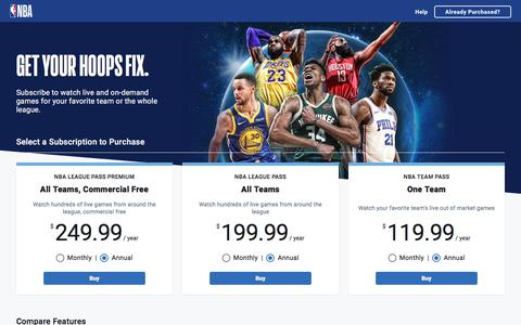 Screenshot of Pricing Page nba.com - Watch Live NBA League Pass Games. Subscribe Today | NBA.com - captured Sept. 16, 2019