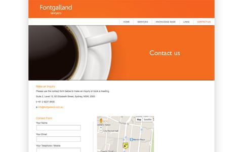 Screenshot of Contact Page fontgalland.com.au - CONTACT US - captured Oct. 6, 2014