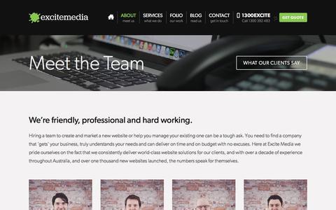 Screenshot of Team Page excitemedia.com.au - Meet the Team - Excite Media - Website design and development experts - captured July 23, 2018