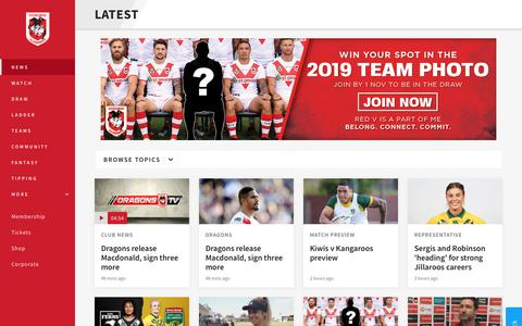 Screenshot of Press Page dragons.com.au - News - Dragons - captured Oct. 9, 2018