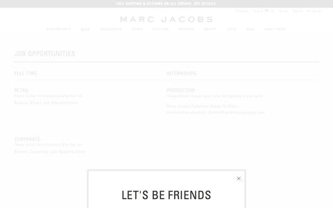 Screenshot of Jobs Page marcjacobs.com - Job Opportunities at Marc Jacobs - captured July 18, 2018