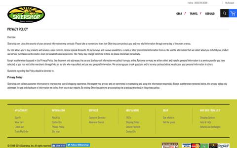Screenshot of Privacy Page FAQ Page skiershop.com - Privacy Policy - captured April 9, 2017