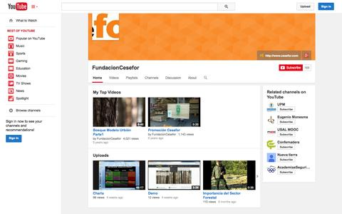Screenshot of YouTube Page youtube.com - FundacionCesefor  - YouTube - captured Oct. 22, 2014