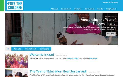 Screenshot of Blog freethechildren.com - Free The Children Blog - Free The Children - captured Sept. 24, 2014