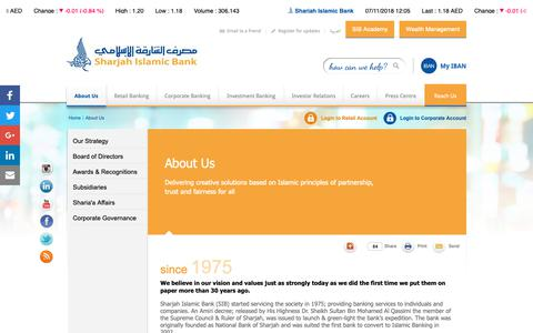 Screenshot of About Page sib.ae - About Us |                                      Sharjah Islamic Bank - captured Nov. 7, 2018