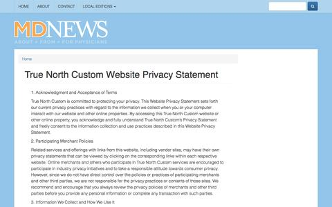 Screenshot of Privacy Page mdnews.com - True North Custom Website Privacy Statement | National MD News - captured May 27, 2017