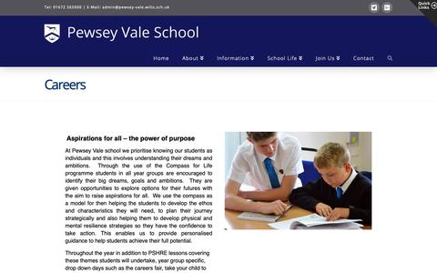 Screenshot of Jobs Page pewseyvale.org - Careers | Pewsey Vale School - captured Oct. 27, 2018