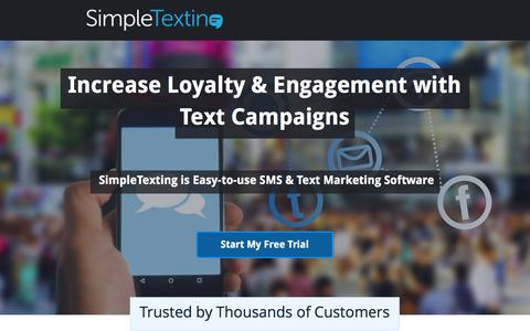 Screenshot of Landing Page simpletexting.com - SimpleTexting SMS Marketing Software - captured Aug. 27, 2016
