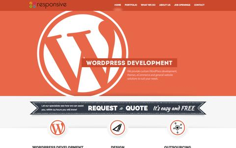 Screenshot of Home Page responsive-it.com - Wordpress Design & Wordpress Development from Responsive - captured Jan. 26, 2015