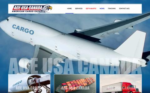 Screenshot of Home Page americancargoexpress.com - ACE USA CANADA | American Cargo Express - captured July 29, 2018