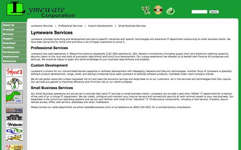 Screenshot of Services Page lymeware.com - Lymeware Services - captured Oct. 3, 2014