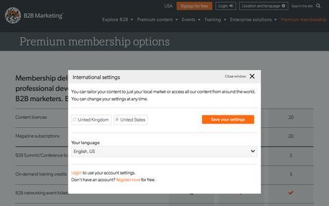 Screenshot of Signup Page b2bmarketing.net - Membership | B2B Marketing - captured July 17, 2016
