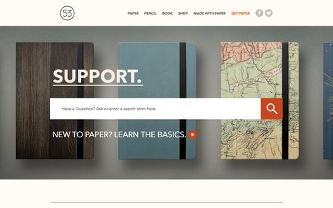 Screenshot of Support Page fiftythree.com - FiftyThree |        Support - captured Sept. 19, 2014