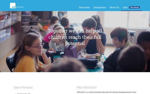 Screenshot of Jobs Page altschool.com - AltSchool | Jobs - captured Nov. 6, 2015