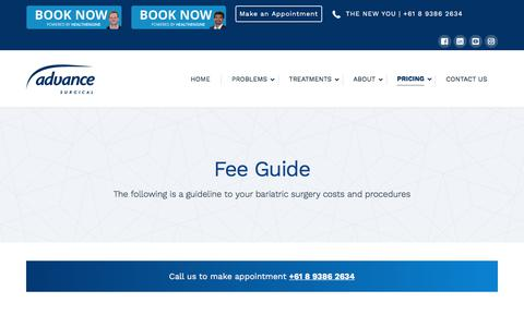 Screenshot of Pricing Page advancesurgical.com.au - Pricing | Fee Guide | Weight Loss & General Surgery | Advance Surgical - captured July 29, 2018