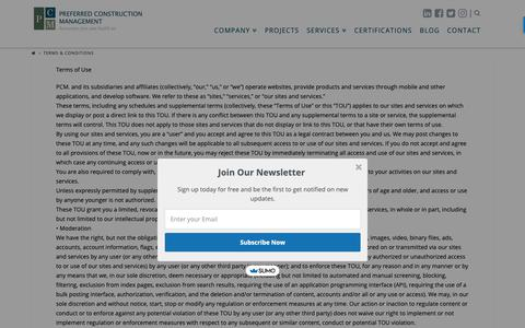 Screenshot of Terms Page pcmcompany.com - Terms & Conditions - Preferred Construction Management - captured Sept. 28, 2018