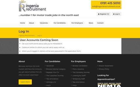 Screenshot of Login Page ingeniarecruitment.co.uk - Log In | Ingenia Recruitment - captured Nov. 6, 2018
