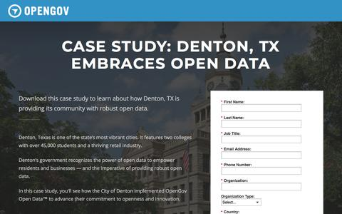 Screenshot of Landing Page opengov.com - Case Study: Denton, TX Embraces Open Data | OpenGov - captured May 11, 2018
